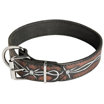 Collie Collar Leather Handmade Painted in Barbed Wire for Walking Dog