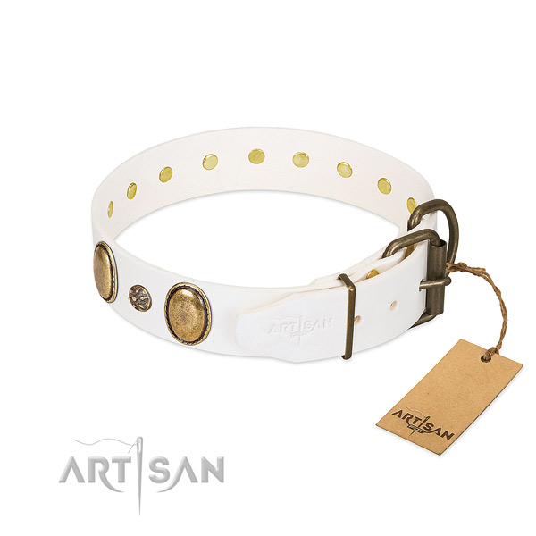 Easy wearing soft leather dog collar with adornments