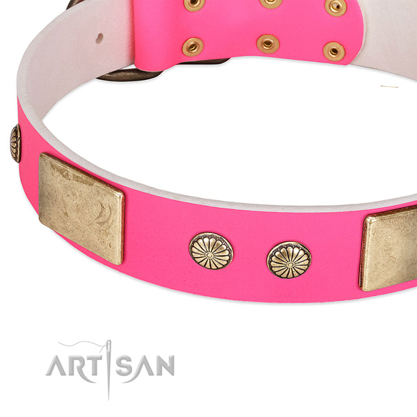 Strong hardware on natural leather dog collar for your doggie