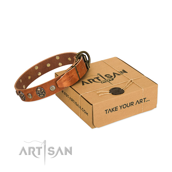 Rust-proof fittings on natural genuine leather dog collar for comfy wearing