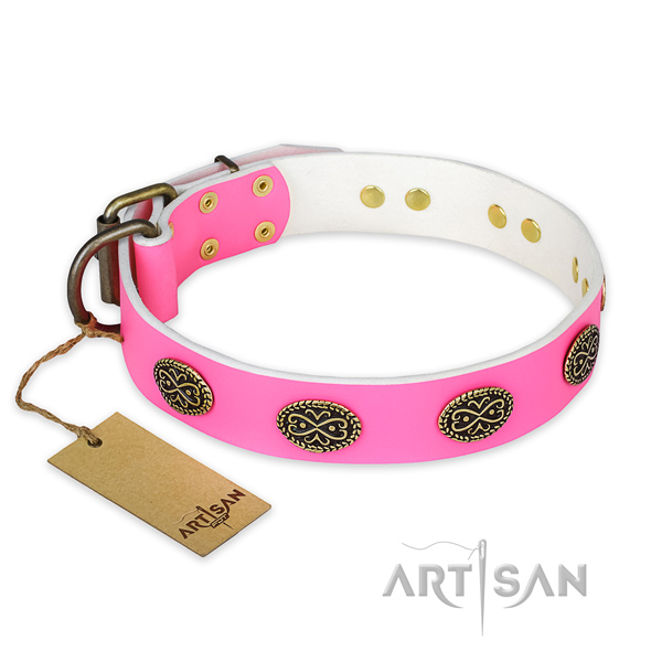 Inimitable genuine leather dog collar for daily walking