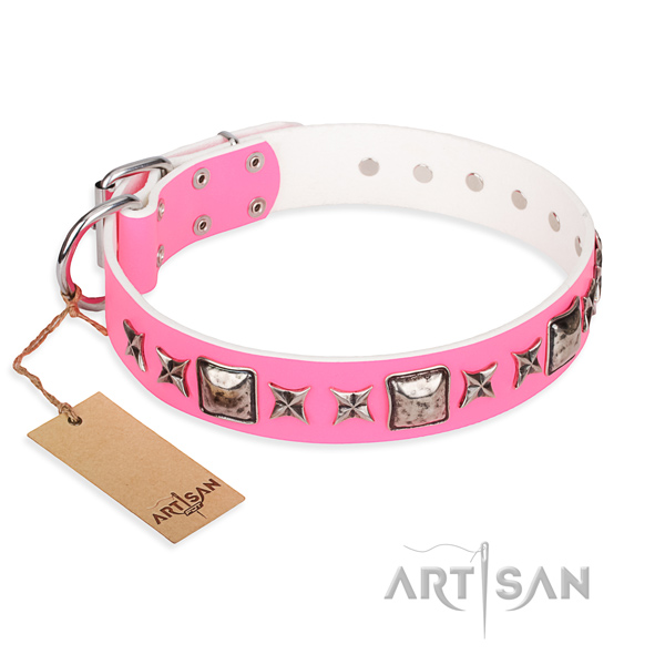 Leather dog collar made of flexible material with durable fittings
