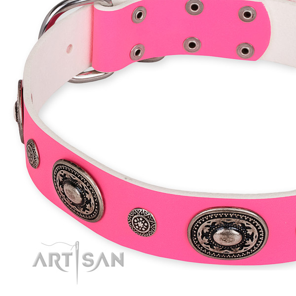 Soft full grain leather dog collar crafted for your attractive dog