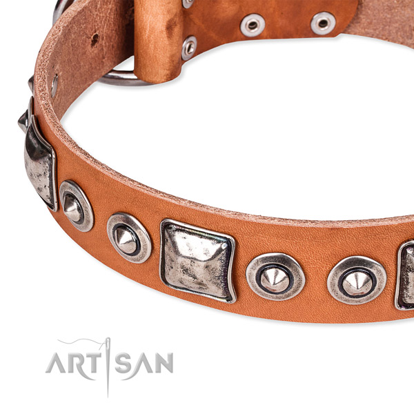 Durable natural genuine leather dog collar handcrafted for your stylish dog