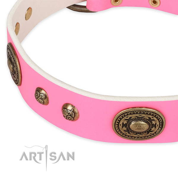 Trendy full grain natural leather collar for your lovely doggie