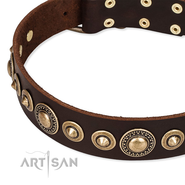 Strong genuine leather dog collar handcrafted for your stylish dog