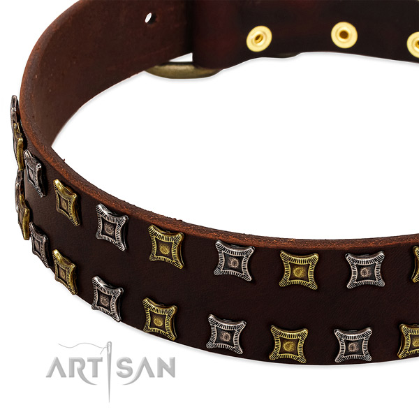Soft genuine leather dog collar for your attractive doggie