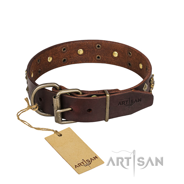 Basic training dog collar of fine quality full grain leather with embellishments
