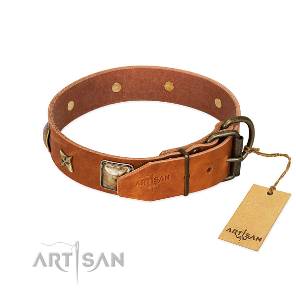 Natural genuine leather dog collar with reliable D-ring and studs