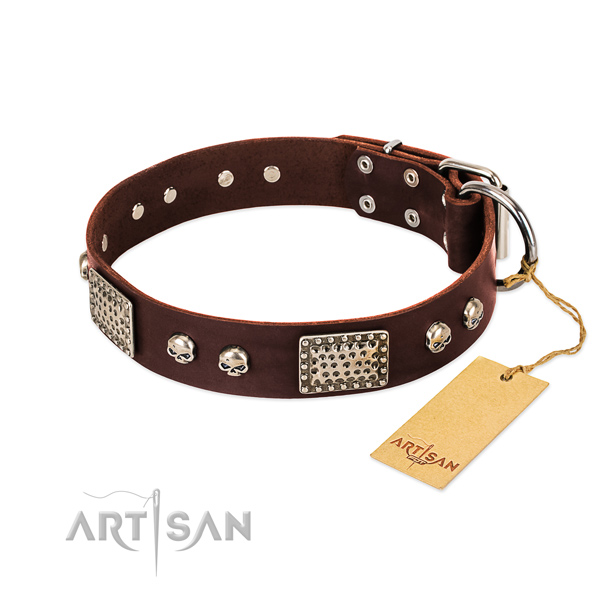 Adjustable full grain leather dog collar for basic training your dog