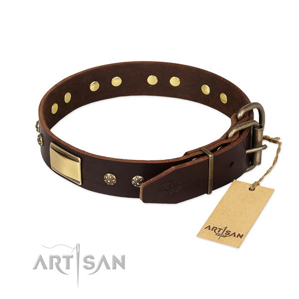 Adjustable full grain genuine leather collar for your dog
