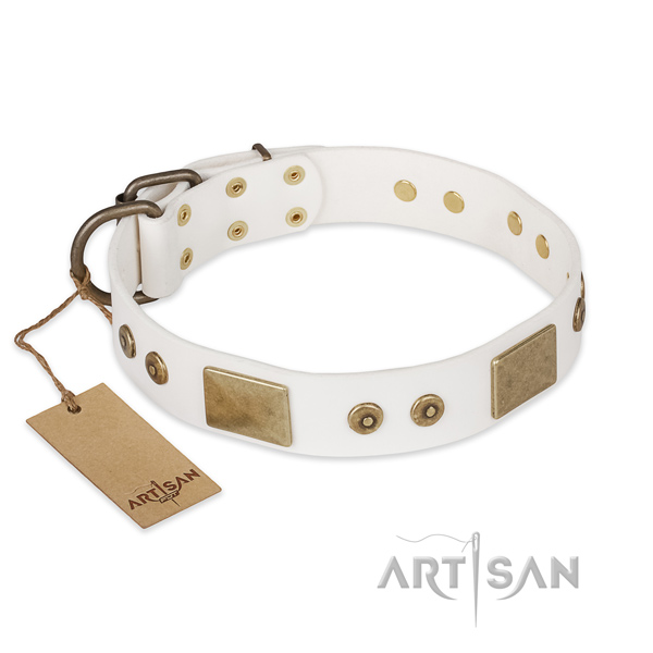Impressive natural leather dog collar for comfy wearing