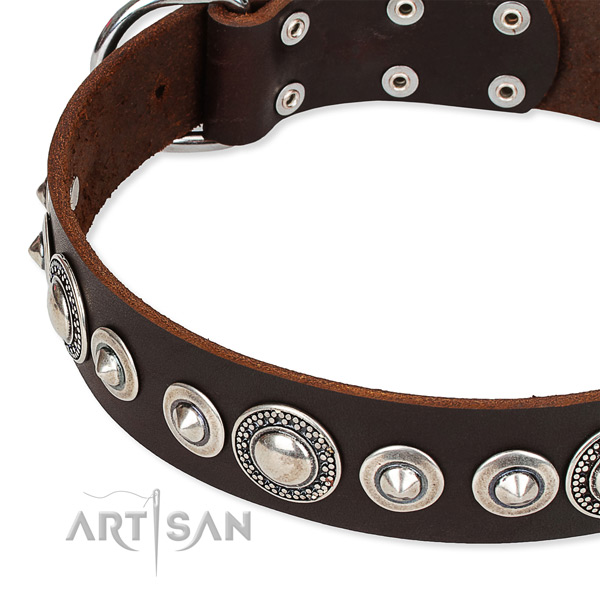 Easy wearing decorated dog collar of strong full grain genuine leather