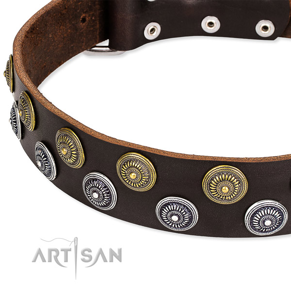 Easy wearing embellished dog collar of top notch genuine leather