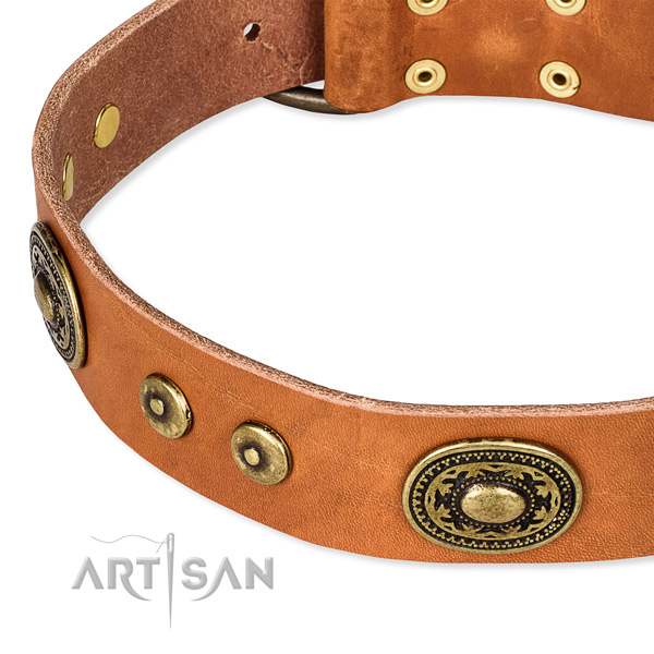 Leather dog collar made of gentle to touch material with studs