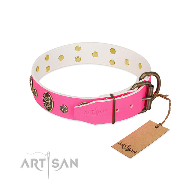 Reliable buckle on full grain genuine leather collar for daily walking your doggie
