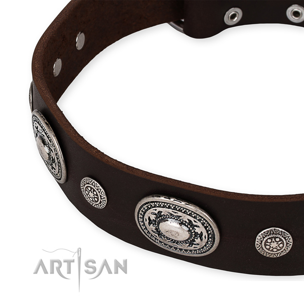 Soft leather dog collar created for your impressive pet