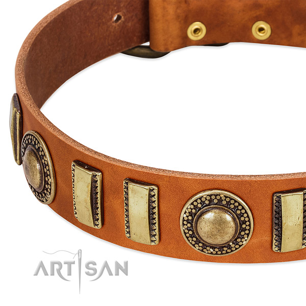 Soft to touch full grain natural leather dog collar with rust resistant hardware