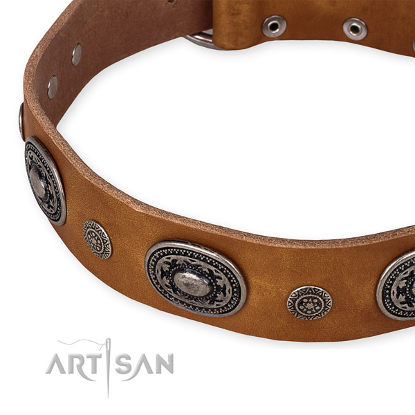 Top rate genuine leather dog collar made for your lovely doggie