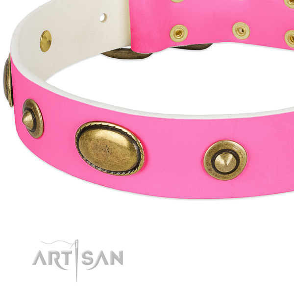 Reliable buckle on genuine leather dog collar for your pet