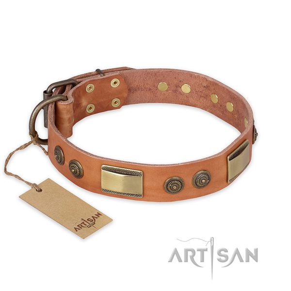 Adjustable natural genuine leather dog collar for walking