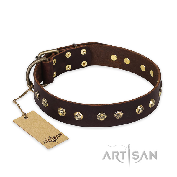 Incredible natural genuine leather dog collar with durable hardware