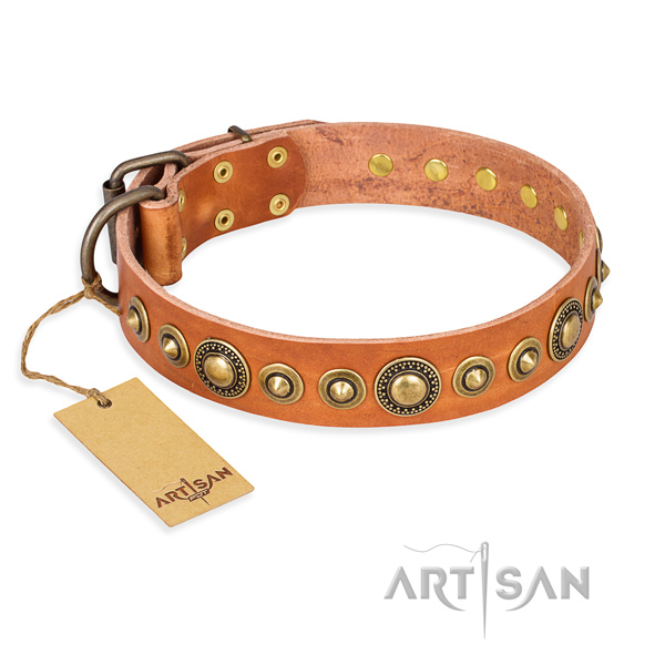 Soft full grain genuine leather collar handcrafted for your canine