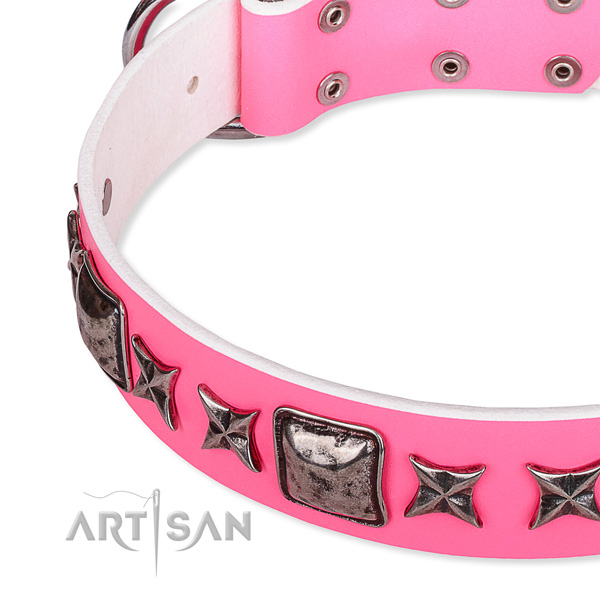 Comfy wearing embellished dog collar of high quality full grain genuine leather