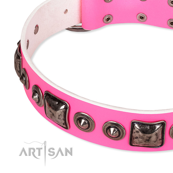 Gentle to touch full grain natural leather dog collar handmade for your lovely doggie