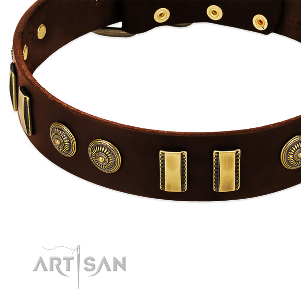 Strong studs on full grain leather dog collar for your dog