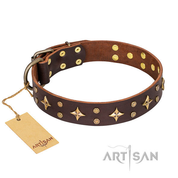 Comfy wearing dog collar of durable full grain genuine leather with decorations
