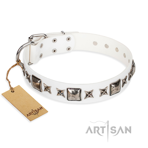 Basic training dog collar of durable natural leather with decorations