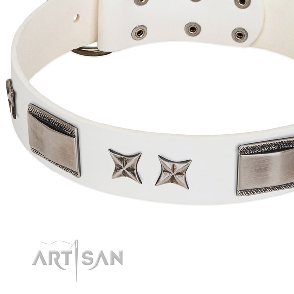Quality natural leather dog collar with corrosion proof buckle