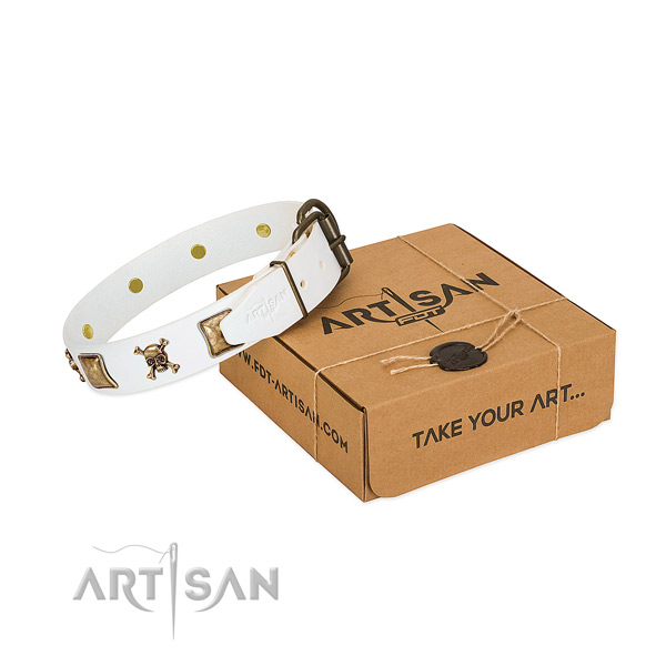 Everyday use soft to touch full grain leather dog collar with adornments