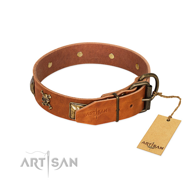 Remarkable full grain genuine leather dog collar with strong studs