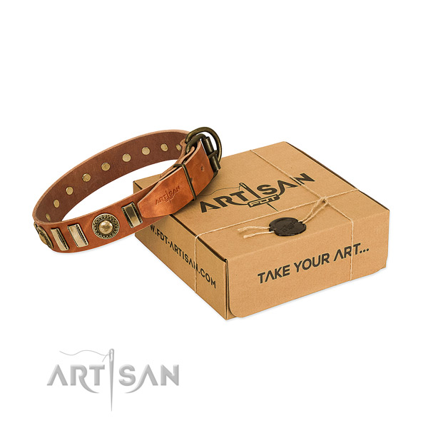 Flexible natural leather dog collar with reliable fittings