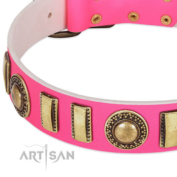 Flexible full grain natural leather dog collar for your attractive doggie