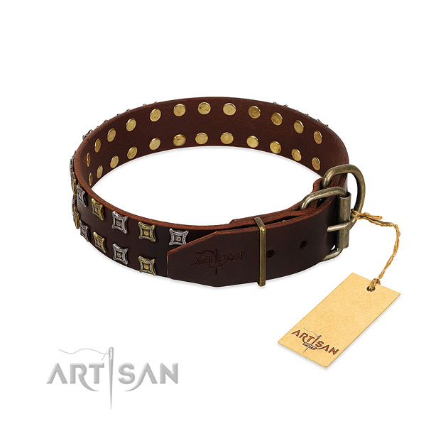 Durable leather dog collar handcrafted for your pet
