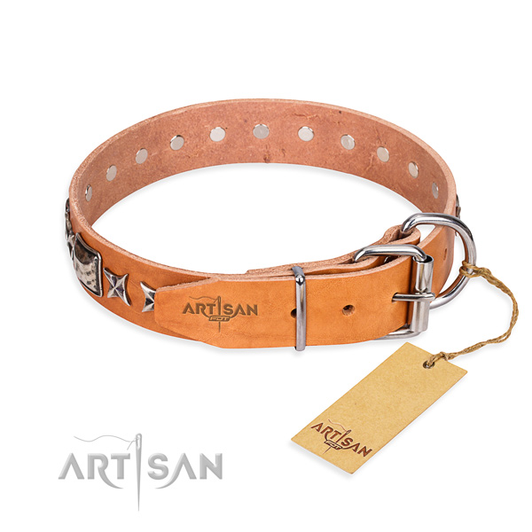 Best quality decorated dog collar of natural leather