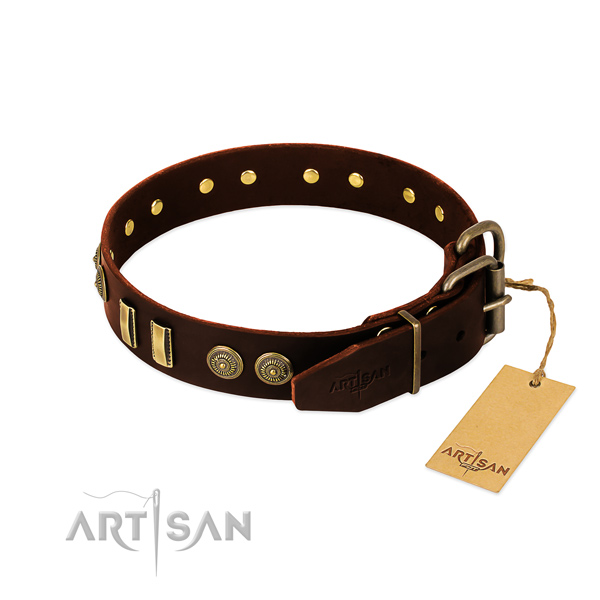Rust resistant decorations on full grain genuine leather dog collar for your four-legged friend