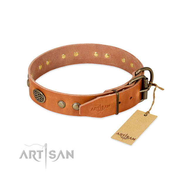 Strong adornments on Genuine leather dog collar for your dog