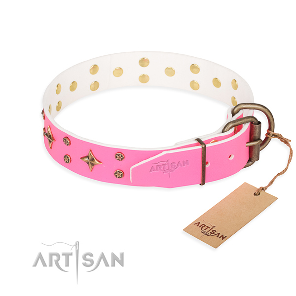 Stylish walking adorned dog collar of best quality full grain leather