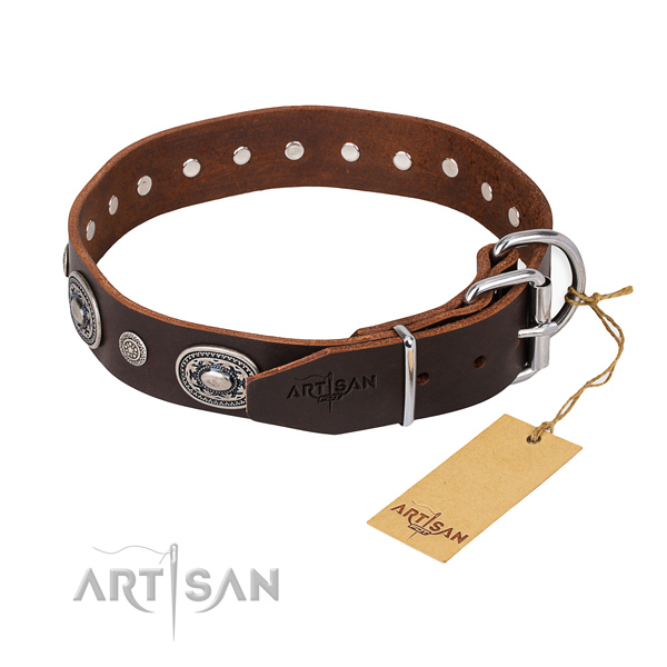 High quality full grain natural leather dog collar handcrafted for daily walking