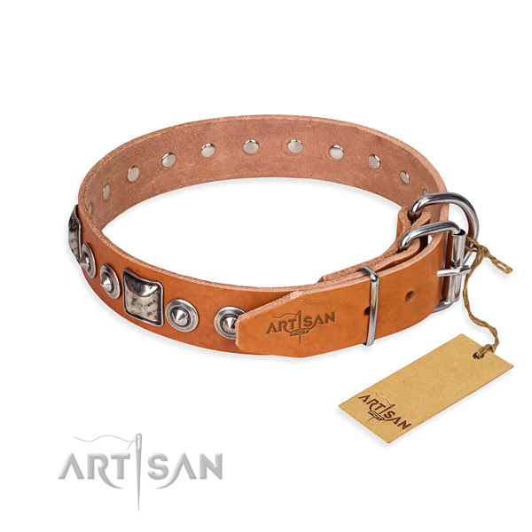 Full grain leather dog collar made of best quality material with strong decorations