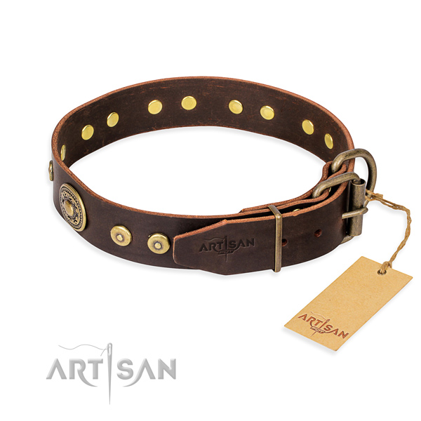 Leather dog collar made of gentle to touch material with corrosion resistant embellishments