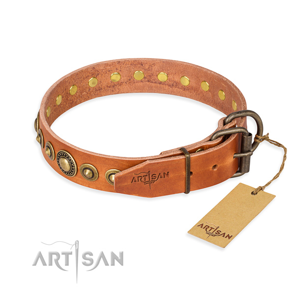 Soft full grain genuine leather dog collar crafted for stylish walking