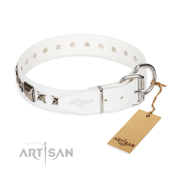 Top notch embellished dog collar of full grain natural leather