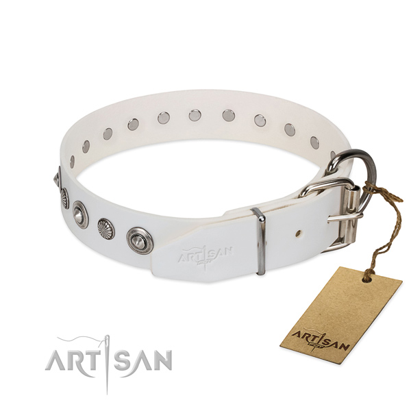 Durable full grain genuine leather dog collar with awesome decorations