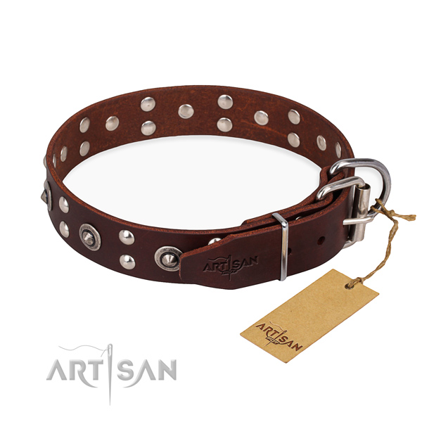 Rust resistant fittings on full grain leather collar for your handsome doggie