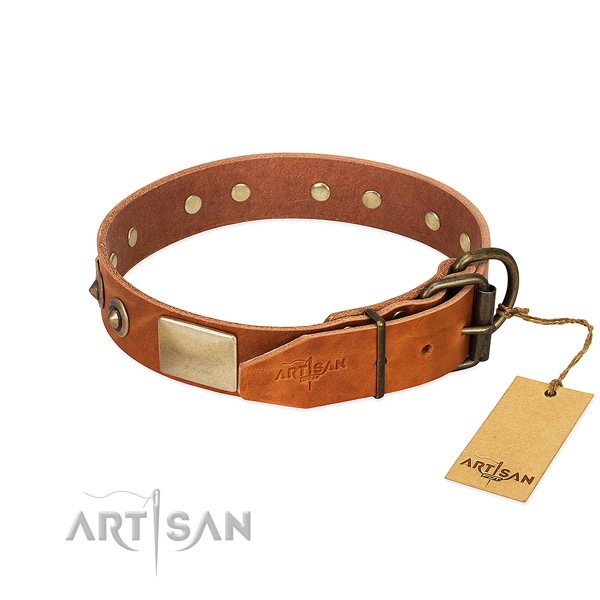 Reliable D-ring on full grain leather dog collar for your four-legged friend